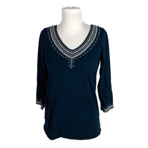 Lucky Brand L Large Tunic Embroidered Boho Blue